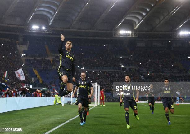 Ss Lazio v Fc Juventus - Serie A Cristiano Ronaldo of Juventus celebrates after the decisive penalty of 2-1 scored at Olimpico Stadium in Rome, Italy...
