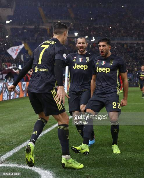 Ss Lazio v Fc Juventus - Serie A Cristiano Ronaldo of Juventus celebrates with Giorgio Chiellini and Emre Can at Olimpico Stadium in Rome, Italy on...