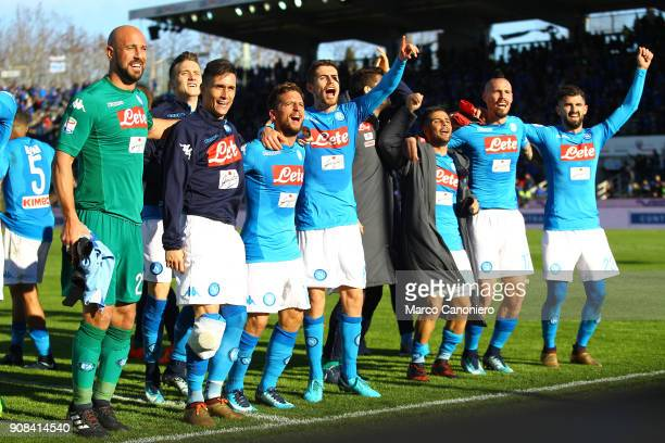 Ssc Napoli's players celebrate under the fans at the end of the Serie A football match between Atalanta Bergamasca Calcio and Ssc Napoli Ssc Napoli...