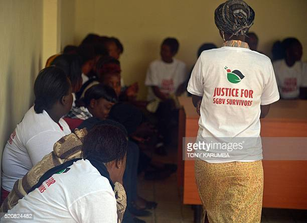 Ssexual and gender based violence wait outside the high court on April 13 2016 in Nairobi prior to attend their appeal trial regarding a petition...