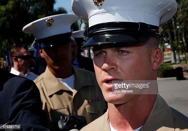 SSgt Adam Morrison recalls the death of USMC Sgt Rafael Peralta during an award ceremony on June 8 2015 in Camp Pendleton California Peralta who...
