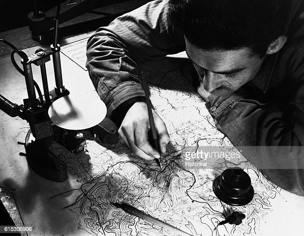 S/Sgt Blake Ellis Sheel Creek Tenn inking in the pencil tracings Culture Hydrography and Contours are shown England January 11 1943