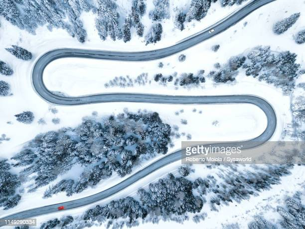 s-shape road from above, maloja pass, switzerland - mountain pass stock pictures, royalty-free photos & images