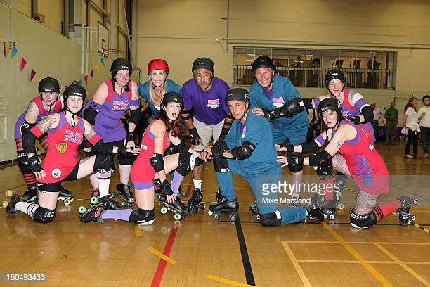 SSharon Davies John Inverdale David Moorcroft and Daily Thompson join in Hellfire Harlots Roller Derby Team part of Join In Local Sport Weekend on...
