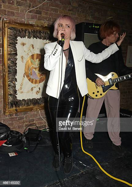 Sshh Liguz and Zak Starkey of Penguins Rising perform at the Eat Your Art Out Weekender hosted by Jaime Winstone to celebrate the launch of...