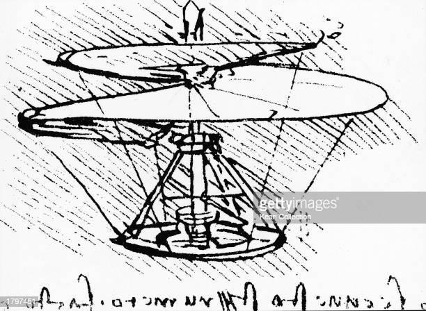 Ssketch of an early helicopter prototype drawn by Leonardo da Vinci in 1483