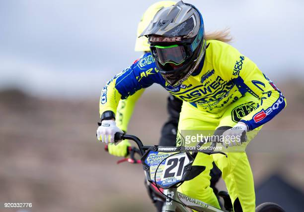Ssquared Bicycles' Elite racer Lauren Reynolds of Australia practices before the USA BMX Winter Nationals on February 16 at Black Mountain BMX in...