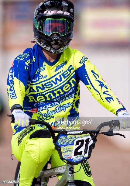 Ssquared Bicycles' Elite Women's racer Lauren Reynolds of Australia warms up before the USA BMX Winter Nationals on February 16 at Black Mountain BMX...