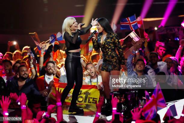 Ssters representing Germany perform live on stage during the 64th annual Eurovision Song Contest held at Tel Aviv Fairgrounds on May 18 2019 in Tel...