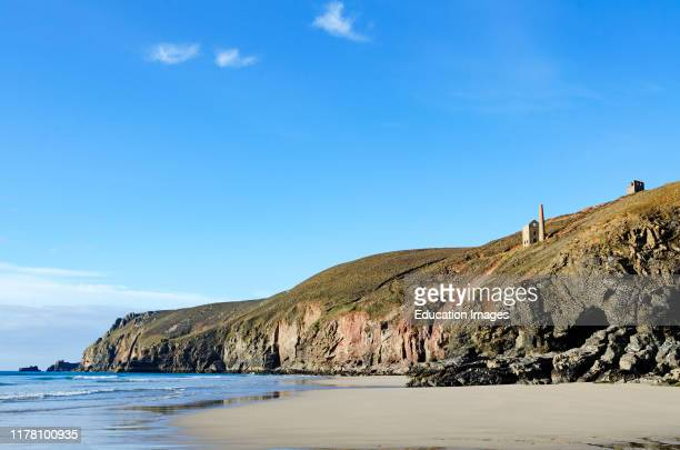 St Agnes head and chapel porth beach Cornwall England