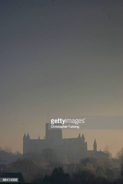 St Albans Cathedral is shrouded in smoke from the huge fire at Bruncefield oil depot on December 11 2005 in Hemel Hempstead EnglandThe explosions are...