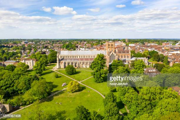 st albans from above - church stock pictures, royalty-free photos & images
