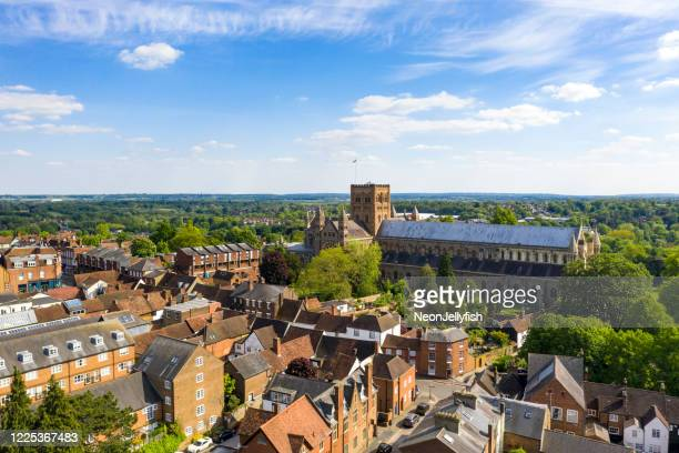 st albans from above - courtyard stock pictures, royalty-free photos & images