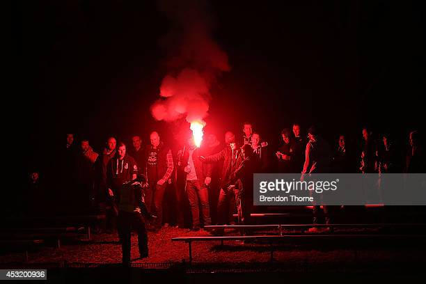 St Albans Saints fans light a flare during the FFA Cup match between Parramatta FC and St Ablans Saints at Melita Stadium on August 5 2014 in...