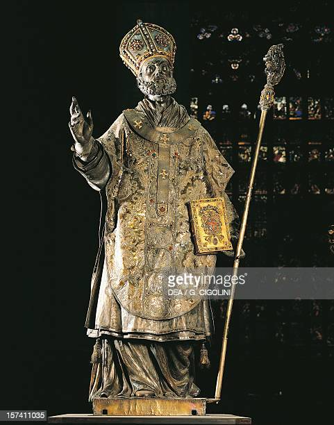St Ambrose statue made of silver and set with precious stones high altar of Milan Cathedral Italy 17th century