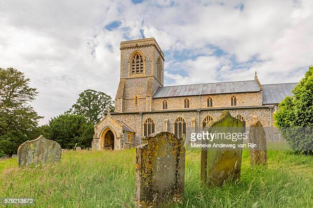 St Andrew Church, a 15th century flint and limestone building, in the village of Blickling, Norfolk, England, United Kingdom.