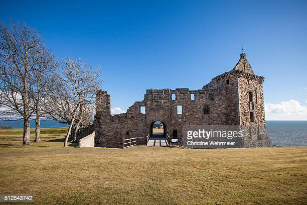 st andrews castle, scotland - christine wehrmeier stock pictures, royalty-free photos & images