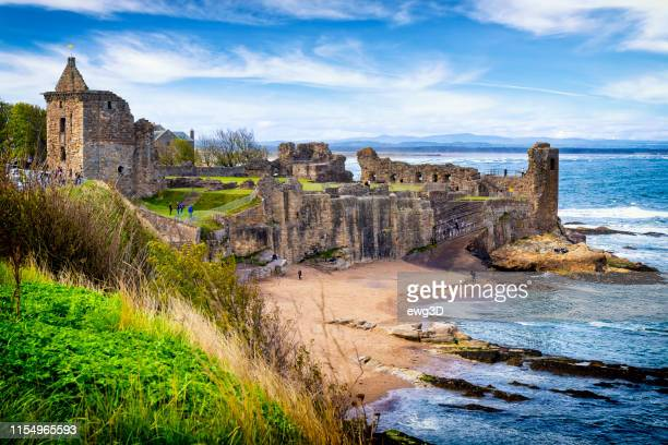st andrews castle, scotland, uk - st. andrews scotland stock pictures, royalty-free photos & images
