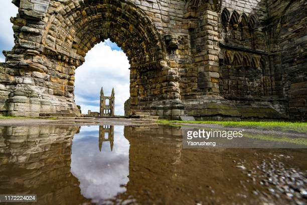 st andrews cathedral in st. andrews, scotland - st. andrews scotland stock pictures, royalty-free photos & images
