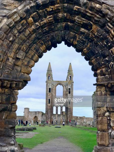 st. andrews cathedral, st. andrews scotland - st. andrews scotland stock photos and pictures