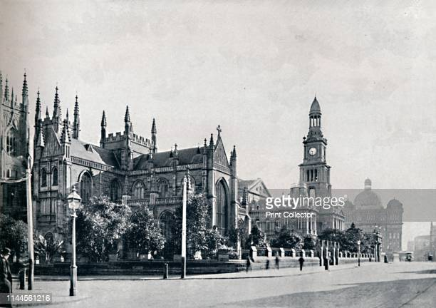 """St. Andrew's Cathedral, Sydney Town Hall, and Market Buildings, circa 1900. From """"50 Picturesque Photographic Views of Sydney and Surroundings""""...."""