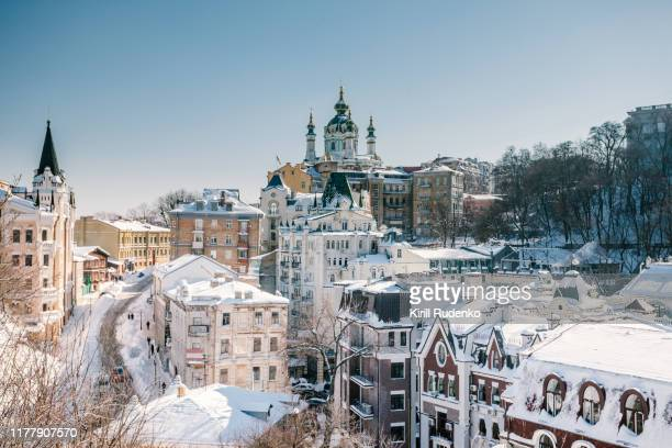 st. andrews church and andriyivskyy descent, in winter, kyiv, ukraine - キエフ市 ストックフォトと画像