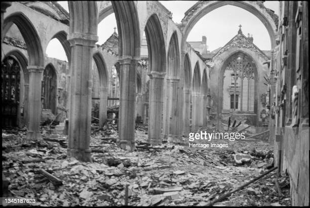 St Andrew's Church, Catherine Street, Plymouth, 1941. Interior view of the south aisle of St Andrew's Church, showing bomb damage. Artist John...