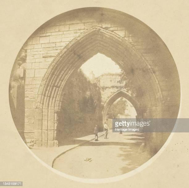 St. Andrews, circa 1850/70. Archway marking a city gate, St Andrews, Scotland. Salted paper print. Artist David Octavius Hill.