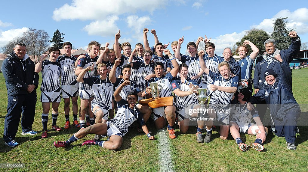 St Andrew's College celebrate winning the Co-Education Schools 1st XV Championships Final, St Andrew's College vs Cambridge High School on September 6, 2015 in Rotorua, New Zealand.