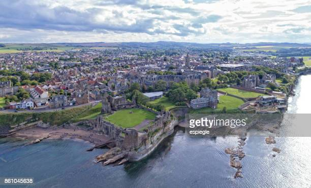 st. andrews from above - st. andrews scotland stock pictures, royalty-free photos & images