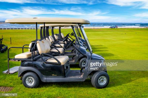 st andrews, golf buggies - st. andrews scotland stock pictures, royalty-free photos & images