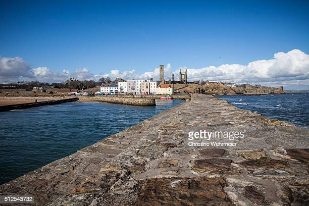 st andrews harbour, scotland - christine wehrmeier stock pictures, royalty-free photos & images