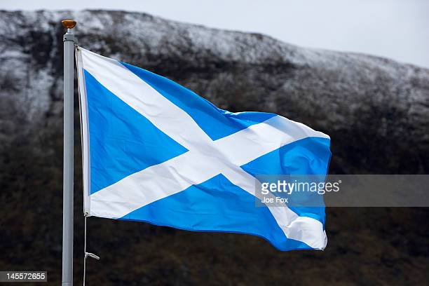 st andrew's saltire cross, the scottish flag - scotland flag stock photos and pictures