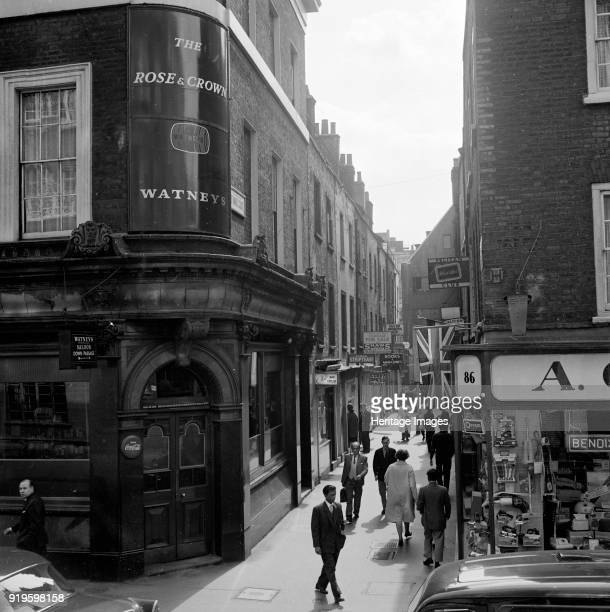 St Anne's Court Soho City of Westminster London early 1960s View along the street showing signs for clubs and shops with the corner of the Rose and...