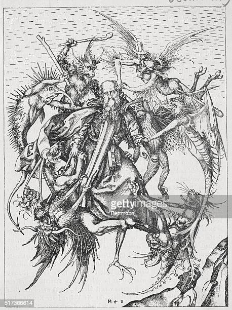 St Anthony lifted in to the air and tormented by demons