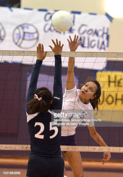 BEACH CALIF USA St Anthony's Liz Soteras shoot against St Genevieve's Vanessa Bass during their game in Long Beach Calif on October 25 2012