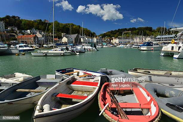 st. aubin harbour, jersey, u.k. - jersey england stock photos and pictures