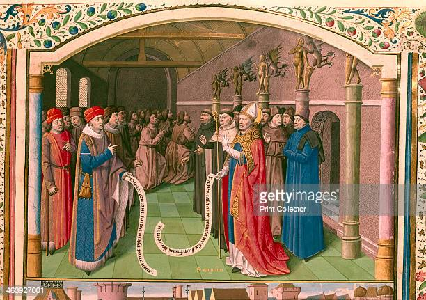'St Augustin Bishop of Hippo in discussion' Monks pray in the background St Augustine of Hippo is regarded as one of the great fathers of the early...