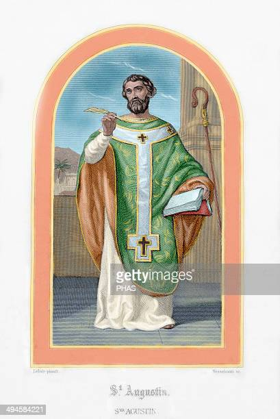 St Augustine African bishop doctor and father of the church Colored engraving