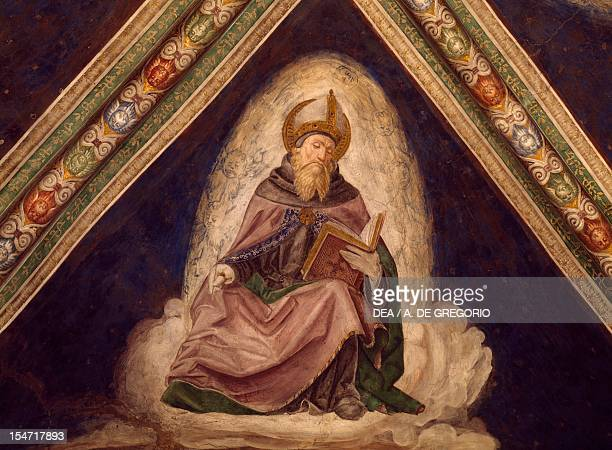 St Augustine detail from the Doctors of the Church Cycle 14871492 fresco Church of the Santissima Annunziata Franciscan Monastery Cortemaggiore...