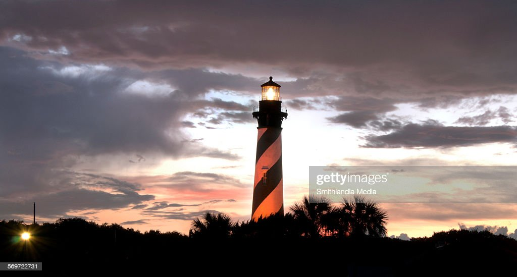 St. Augustine Lighthouse sunset : Foto de stock