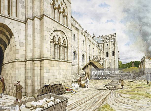 St Augustine's Abbey during construction c11th century Reconstruction drawing St Augustine's Benedictine Abbey Canterbury Kent under Norman...