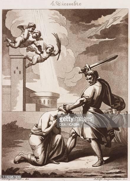 St Barbara Virgin and Martyr Calendar of Saints December 4 engraving by Adolfo Luigi Salmon from Composition artistiques pour tous les jours de...