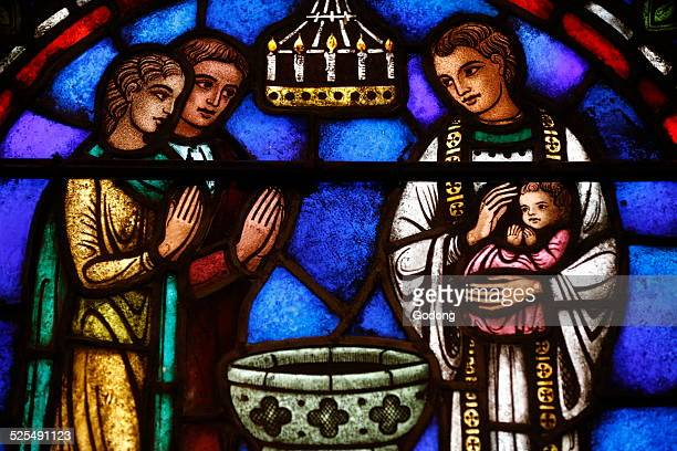St Barth s church Stained glass window Sacrament of Baptism