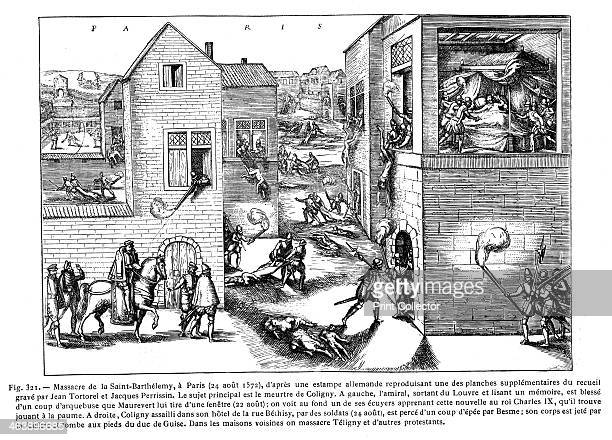 St Bartholomew's Day Massacre, Paris, August 1572. The massacre occurred after a failed attempt by the powerful Catholic Guise family to murder the...