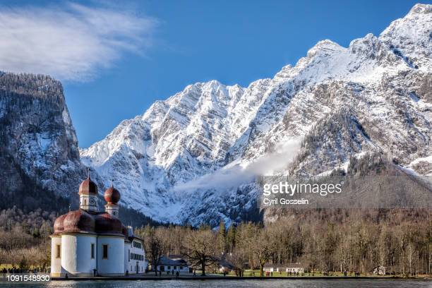 st. bartolomä church and watzmann in early winter - berchtesgaden stock pictures, royalty-free photos & images