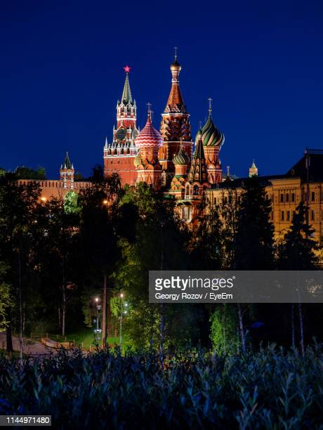 st basil cathedral against sky at night - クレムリン ストックフォトと画像