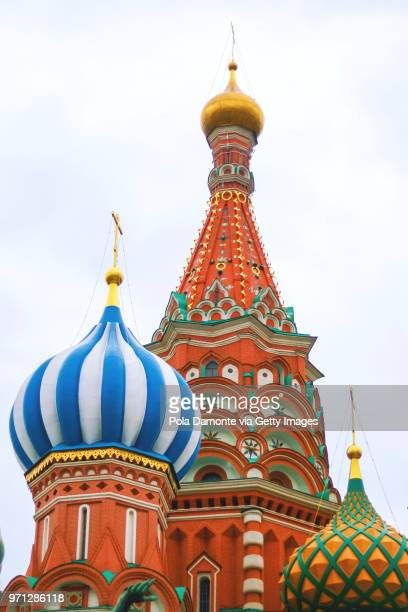 St Basil's Cathedral close up detail, in Red Square, Moscow, Russia