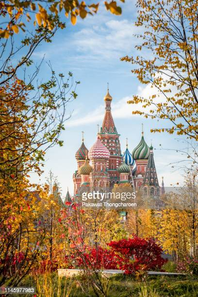 st. basil's cathedral in autumn, moscow, russia - mosca russia foto e immagini stock