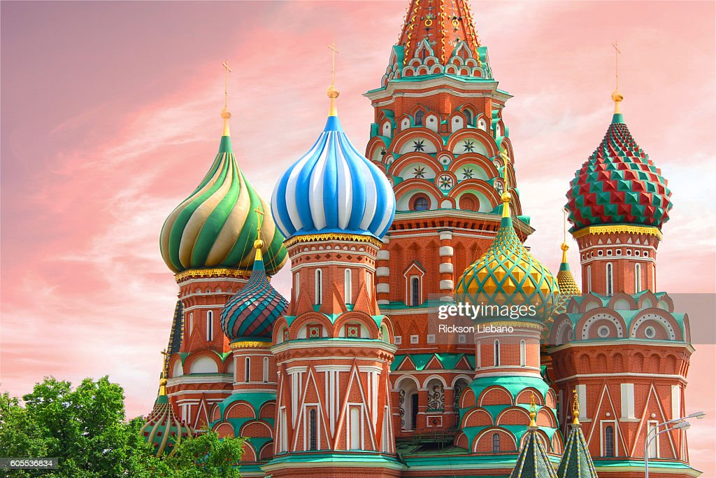 St. Basil's Cathedral in Red Square - Moscow, Russia : Bildbanksbilder